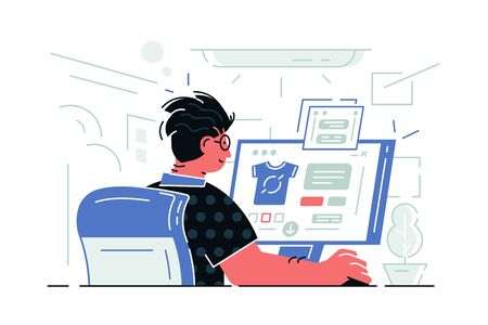 Guy sitting at computer vector illustration. Man working at workplace with pc. Boy making online shopping via special app on website flat style concept Illustration