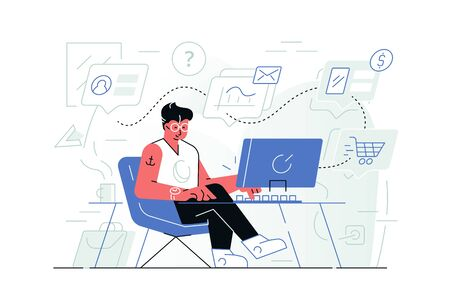 Steps of online shopping vector illustration. Guy sitting at computer and consulting with manager, making choice and placing order in internet shop flat style concept