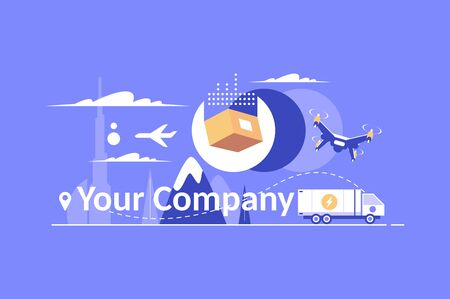 Delivery service design elements for your company logo vector illustration. Modern logotype, business corporate template with various ways of delivering such as air, truck and drone flat style concept Zdjęcie Seryjne - 132608071