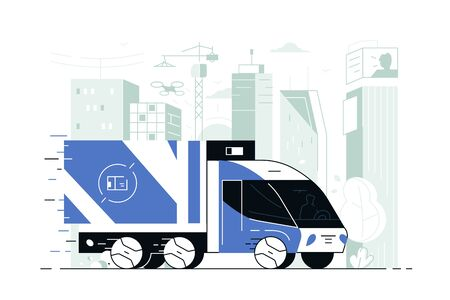 Delivery service truck vector illustration. Commercial vehicle delivering goods to customers flat style concept. City landscape with skyscrapers on background Zdjęcie Seryjne - 132391476