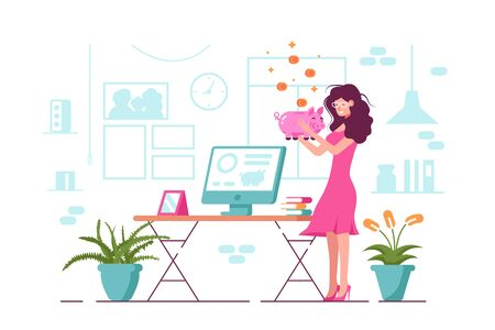 Girl holding piggy bank illustration. Cartoon smiling woman in pink dress standing with moneybox in office flat design. Open online banking app on screen of computer. Saving money concept Zdjęcie Seryjne - 132410289