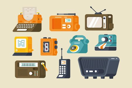 Various technics set illustration. Collection consist of typewriter tv-set telephone dictaphone and radio receiver flat style design. Vintage and retro concept. Isolated on grey Zdjęcie Seryjne - 132409940