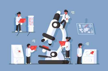 Doctors with microscope in laboratory illustration. Genetic scientists research dangerous disease flat style design. Healthcare concept. Scholars study different illnesses across the globe Zdjęcie Seryjne - 132608084