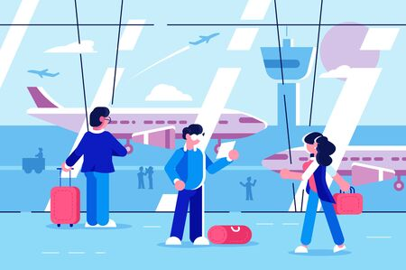 People at airport terminal illustration. Men and women traveler waiting of departure AP flat style design. Waiting room interior. Aircraft travelling concept Zdjęcie Seryjne - 132426713