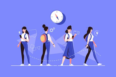 Girl characters poses vector illustration. Woman in casual clothes in various postures flat style concept. Female searching location with smartphone, standing with backpack and going Zdjęcie Seryjne - 132772046
