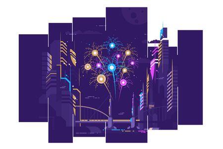 Amazing fireworks in city Zdjęcie Seryjne - 133491805