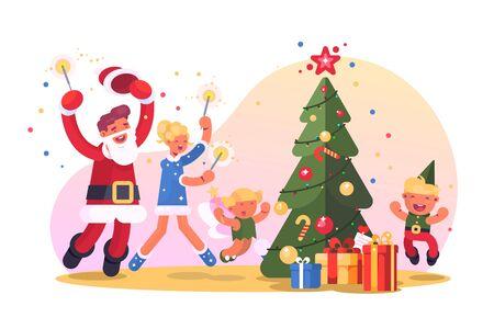 Family with christmas tree Zdjęcie Seryjne - 133491807