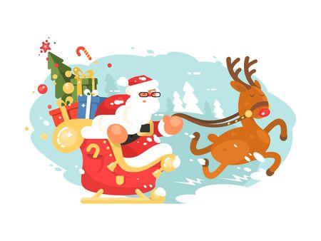 Santa Claus rides in sleigh Zdjęcie Seryjne - 133875353