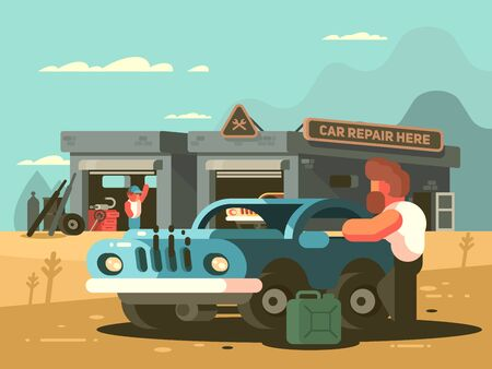 Roadside repair car service. Auto garage with mechanic. illustration
