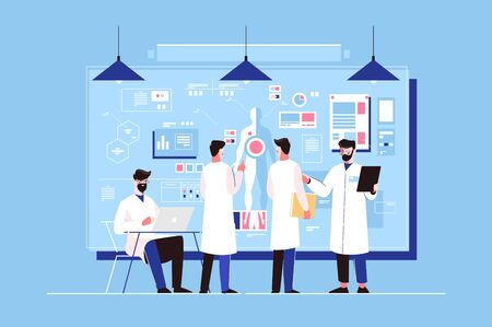Researchers study of genetics in laboratory vector illustration. Men doctors discussing human organs on board, scientific working with laptop. People professionals researching healthy Zdjęcie Seryjne - 133491811