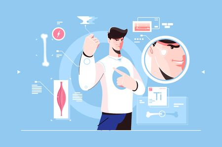 Superhero character scheme with muscle icons vector illustration. Micro view of power and face sign, man showing hand. Strong human and biology of person Zdjęcie Seryjne - 133491813