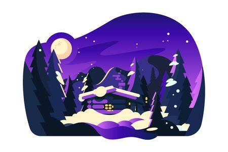 Beautiful winter hut Zdjęcie Seryjne - 133875361