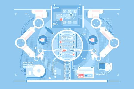 Exact edits room with infographic technologies Ilustrace