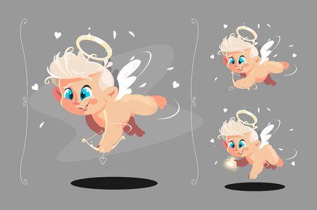 Cute baby angel flying with white wings set Zdjęcie Seryjne - 133875374