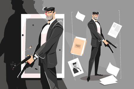 Male spy with handgun Zdjęcie Seryjne - 133875429