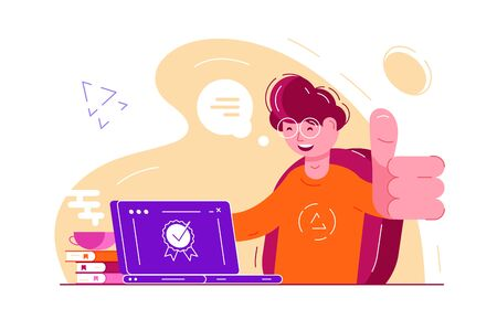 Approve the choice feedback rating. Smiling boy in glasses sitting at laptop and showing thumbs up or like gesture illustration. Quality guarantee stamp on computer flat style concept Zdjęcie Seryjne - 133875447