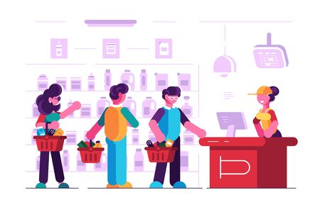 Cashier at cash desk in supermarket illustration. Customers in long queue with female paymaster at groceries store flat style concept. Self-service shop interior Zdjęcie Seryjne - 133875459