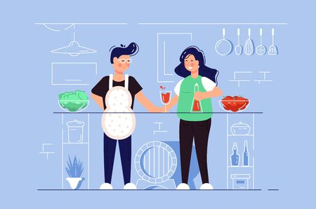 Developing small business illustration. Cartoon man and woman standing at workplace flat style concept. Kitchen cafe interior with kitchenware and foodstuffs. Support local biz Zdjęcie Seryjne - 133875465