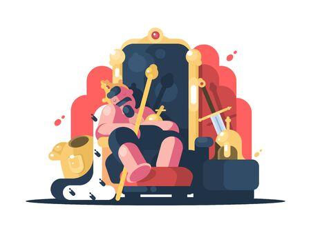 King with crown asleep Zdjęcie Seryjne - 134125768