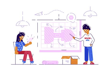 Couple of engineer workers illustration. Man and woman working at drawing planning new project flat style concept. Modern architecture bureau construction company Zdjęcie Seryjne - 134125773