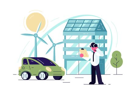 Green energy technologies illustration. Man standing near eco friendly modern house and car powered by wind flat style concept. Renewable power city of future Zdjęcie Seryjne - 134125775