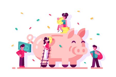 People saving money in piggy bank