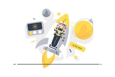 Rocket at the start Ilustracja