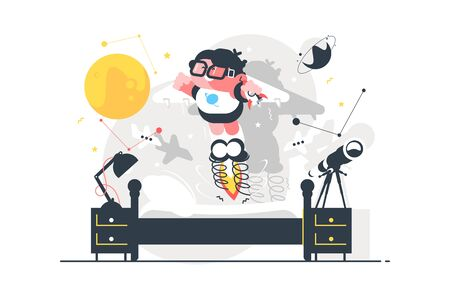 Child with toy rocket vector illustration. Little boy simulating spacecraft launch flat style design. Stars, planet, telescope in children room. Childhood concept