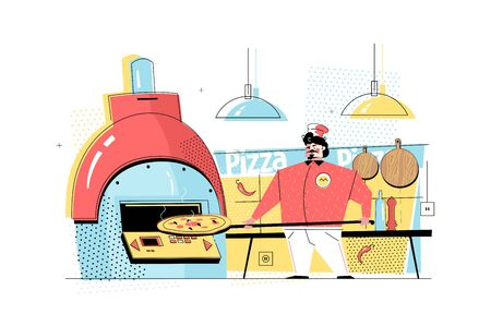 Man baking pizza vector illustration. Professional cook in uniform cooking dish in oven flat style concept. Restaurant kitchen interior with kitchenware on background
