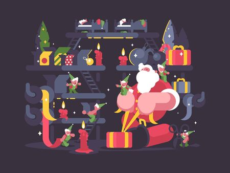 Santa Claus and elves pack gifts for Christmas. illustration