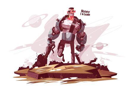 Star Ranger en la ilustración de vector de campo de batalla. Hombre armado con armadura con arma en campo de diseño de estilo plano. Cariño, soy inscripción en casa. Concepto de guerra