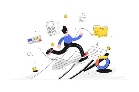 Man running on paper vector illustration. Guy escaping out paperwork flat style design. Diagram, calculator, message and coins icons. Finance and statistics concept