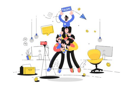Friendly team support vector illustration. Cheerful guys supporting colleague together. Co-workers making staircase of people in office flat style design. Teamwork and teambuilding concept