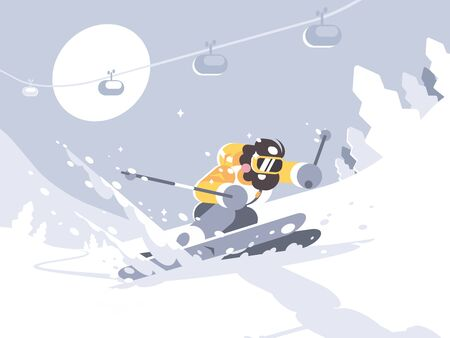 Skier skiing in ski resort. Winter activities rest. illustration