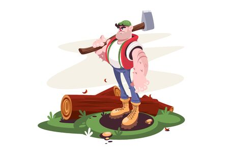 Lumberjack male with axe and downed log in forest vector illustration. Strong worker man with wood standing on meadow cartoon design. Woodcutter concept