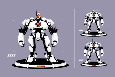 Cyber security strong antivirus protection vector illustration. Internet privacy and safety cartoon design. Robot standing on platform and ready protect personal data concept Stok Fotoğraf