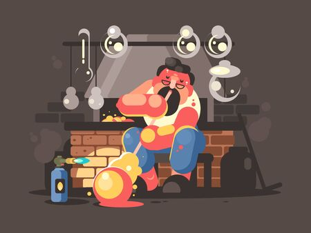 Man blowing hot glass flasks and containers. flat illustration Stock Photo