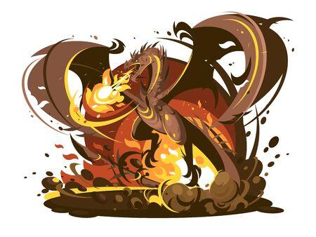 Fire breathing dragon character. Medieval dangerous monster cartoon. illustration