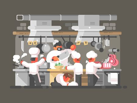 Group of chefs cooks in kitchen of restaurant. illustration