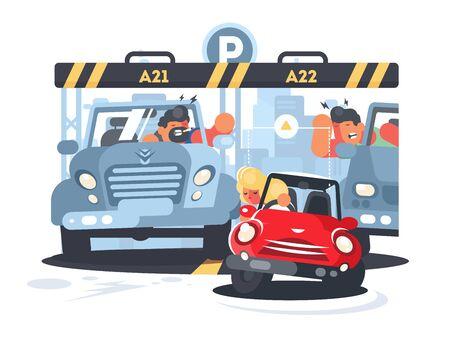 Blonde girl puts little car on narrow parking place. illustration