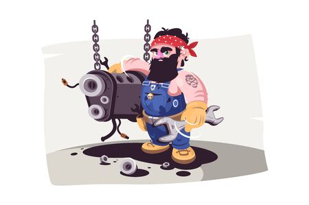 Auto mechanic at service station vector illustration. Bearded guy in uniform with wrenches repairing car engine flat style design. Tire servicing person working 向量圖像