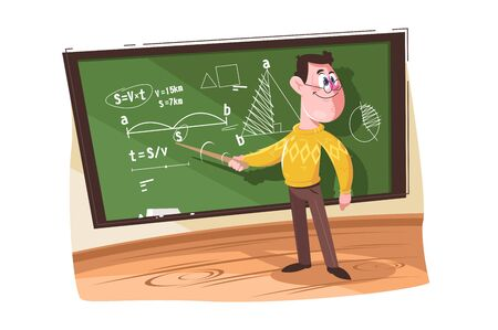 Maths teacher pointing at different formulas vector illustration. Professor teaching and explaining information on chalkboard cartoon design. Education concept. Isolated on white