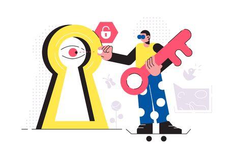 Businessman identification on modern lock Ilustracja
