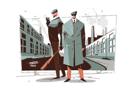Gentlemen in elegant suits vector illustration. Man with wooden bat smoking and waiting on street design. Thugs and knock knock inscription. Retro vintage style. Isolated on white