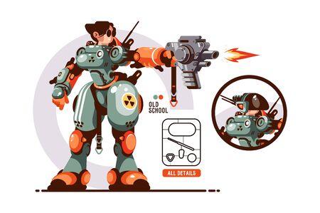 Girl combat in exoskeleton