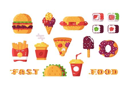 Set of various type of fast food illustration. Different kinds of unhealthy beverages and leisures like sushi, taco and french fries flat style design. Semi-finished products concept Reklamní fotografie
