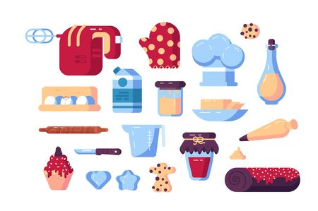 Set of confectioner tools and sweets illustration. Different appliances like mixer, knife, rolling pin and metallic shapes flat style design. Isolated on white