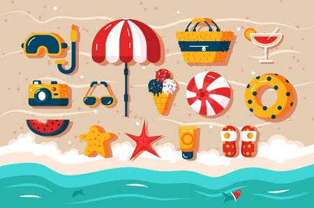 Set of various beach accessories illustration. Different frippery like photo camera, umbrella, snorkeling mask and ball lying in sand. Vacation in hot sunny countries concept Archivio Fotografico