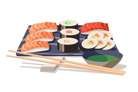 Asian food sushi on board with wooden chopsticks vector illustration. Set of sushi and sashimi with soy sauce cartoon design. Japanese meal concept. Isolated on white
