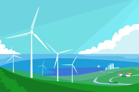 Alternative energy resource with windmills vector illustration. Green fields with generators cartoon design. Large turbine and eco friendly technology concept